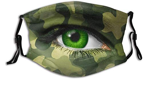 Camouflaged Army Eyes Face Mask Decorative Masks Adjustable Balaclava Bandana Cloth with 2 Filters for Men and Women Outdoors