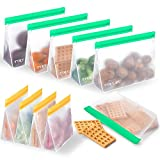 Reusable Food Storage Bags 10 Packs Sustainable Sandwich Bag PEVA Extra Thick Eco Friendly Leak-Proof Hygienic BPA Free Ziplock Lunch Bag for Food Travel Home Organization (6 Green + 4 Orange)