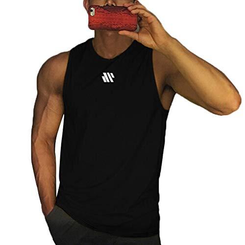 Camiseta sin Mangas de Entrenamiento para Hombre Chaleco para Correr Camiseta sin Mangas de Gimnasia Informal de Verano (Black, XL)