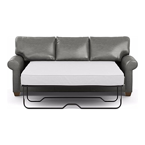 Ethan Allen Bennett Roll-Arm Leather Sofa, 86' Sleeper, Omni Charcoal Top-Grain Leather