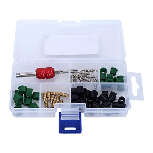 Kit de núcleo de válvula rígida, 71 piezas de reparación de aire acondicionado, herramienta de reparación + 10 núcleos de válvula + 50 juntas de manguera + 10 válvulas de pieza