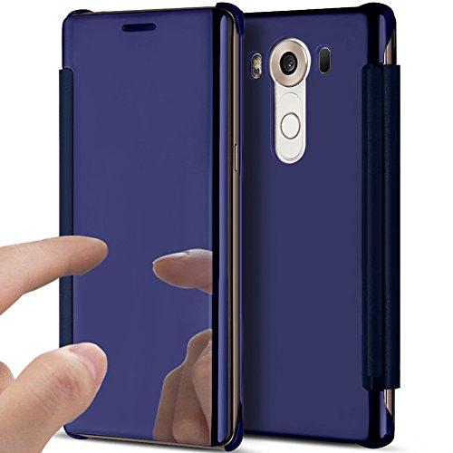 Kompatibel mit LG V10 Hülle,LG V10 Schutzhülle,LG V10 Spiegel Schutzhülle,Überzug Spiegel Durchsichtig Handyhülle Flip Clear View Magnetisch Tasche Hard Hülle Hülle Schutzhülle für LG V10,Dunkel Blau