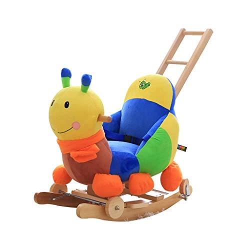 YUEZPKF Schön Schaukelstuhl Baby Rocking Horse Holz, 2 in 1 Plüsch Schaukelpferd mit Rädern, farbig Caterpillar Baby Rocker für 13