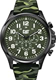 CAT Operator Green Camo Men Watch, 48 mm case, Green face, Stainless Steel case, Green Camo Silicone Strap, Dark Green dial (PU.169.28.818T)