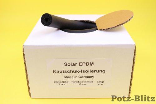 Kautschuk 19x18 endlos Rohrisolierung Isolierung für Solar, 12 Meter