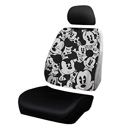 Plasticolor 008638R01 Disney Mickey Mouse Expressions Universal Fit Car Truck or SUV Sideless 3-Piece Seat Cover w/Head Rest