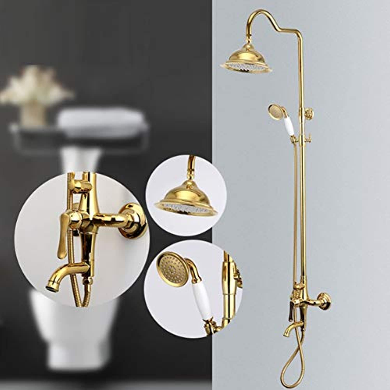Europische Retro Stil Golden set Dusche-, Kupfer casting Wasserhahn, Hand- und oben Dusche Kombination, Startseite Wand Dusche system