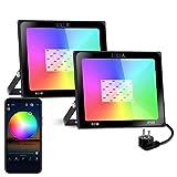 SOLLA Foco Proyector LED RGB de 60W, Luz Regulable Inteligente Bluetooth con 20 Modos 16 Millones de Color, Temporización, Sincronización de Música, Control de Grupo, Impermeable IP66 (Paquete de 2)
