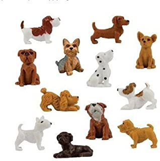 24 Pieces (Two Complete Sets of 12) - Adopt a Puppy Figures Dachshund Basset Hound Dog Bull Terrier Jack Russell Dalmatian Black Labrador Yorkshire Boxer Bloodhound Bulldog Poodle Toy Chihuahua