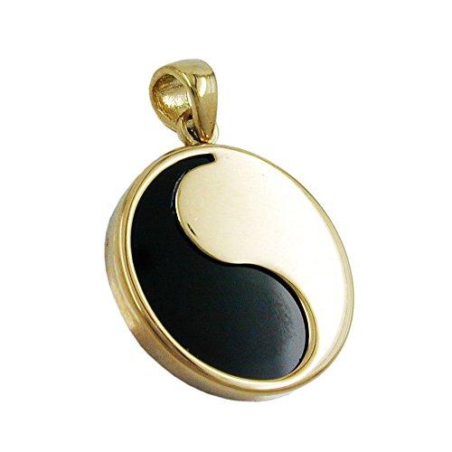 Anhänger Yin Yang 16mm mit Onyx 9Kt GOLD
