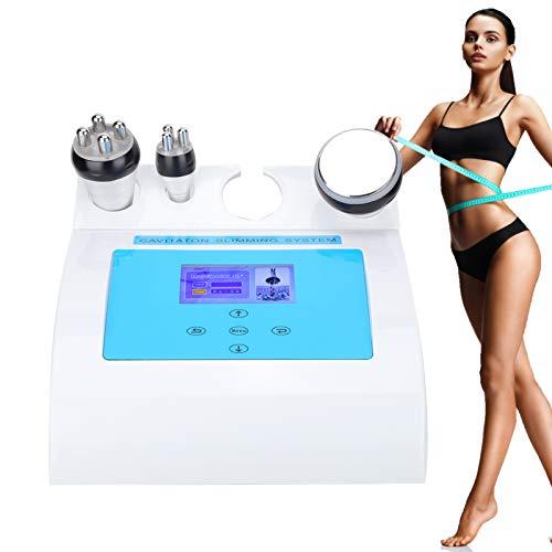 3 in 1 - Macchina per il corpo, 40 K, a ultrasuoni, radiofrequenza, Cavitazione Bellezza Anticellulite, massaggiatore facciale, con 3 teste, accessori di cavitazione