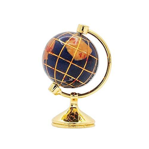 Odoria 1/12 Miniatur Tabelle Globus mit Golden Ständer Für Puppenhaus Dekoration Zubehör