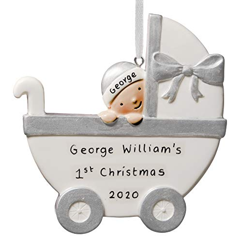 Alphabet barn Christmas Decoration Babys First Xmas 2020 Tree Bauble Personalised New Baby Gift Resin Pram Keepsake Gift Plaque Ornament (Silver