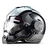 Casque intégral Dot Moto, Casque Iron Man, Casque de Moto rétro Scooter intégral, S-2XL,Grey-XL=59~60cm