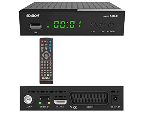 EDISION Picco Cable DVB-C HD Kabel Receiver für alle Deutsche Kabelanbieter geeignet, Mediaplayer,PVR Aufnahmefunktion, Timeshift, LAN,USB, HDMI, SCART, S/PDIF,IR Auge,Kartenleser, 2in1 Fernbedienung