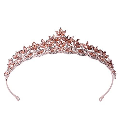 GDYJP Moda Simple Hoja de Cristal bridales Tiaras Crown Princess Reina Diamantes de imitación Concurso Diadema Boda Accesorios para el Cabello (Color : A)