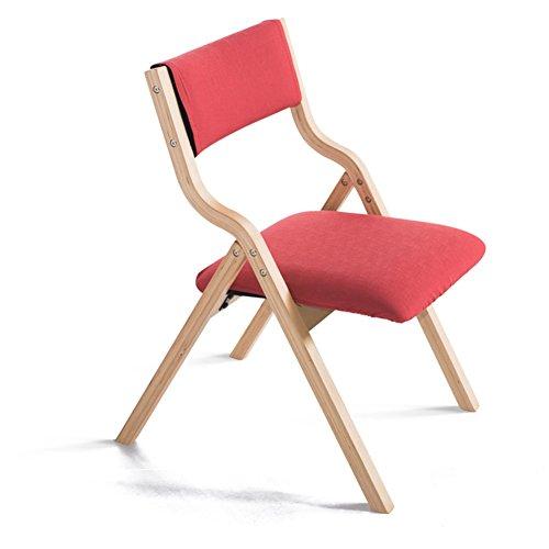 Chaise Pliante En Bois Chaise D'ordinateur Chaise À Manger Avec Dossier Tissu 48,5 * 46 * 78,5 Cm Rouge (Couleur : Original wood frame)