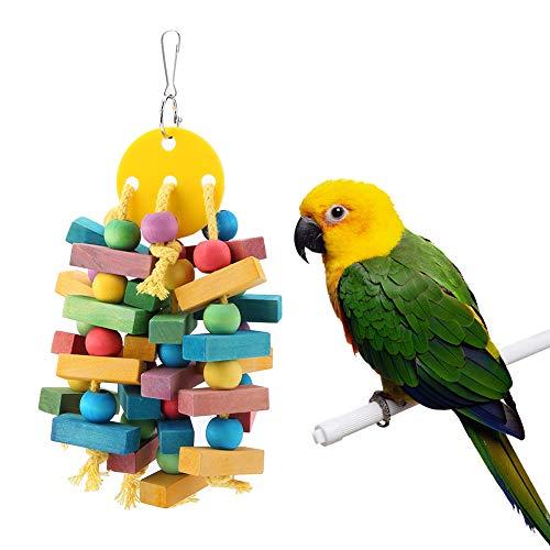 Duokon Papagei Hängen Holz Kauen Spielzeug Vögel Käfig Biss Zubehör Schaukel Geeignet für Papageien, Sittiche, Aras, Graupapageien,Holzblock