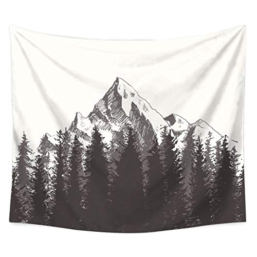 SPRING GLOW Forest Mountain Black and White Bedside Schlafzimmer Tapestry Wand Dekoration Plane Hintergrund Tuch Tischdecke Sofa Handtuch Wand Tuch