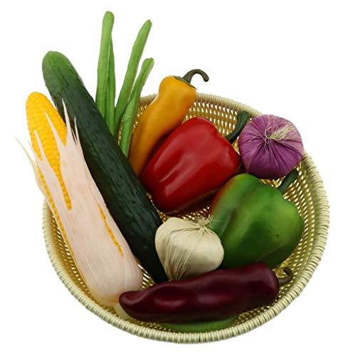 Gresorth 10 Stück Künstlich Gemüse Fälschung Gurke Mais Pfeffer Zwiebel Bohne Zuhause Küche Essen Party Dekoration