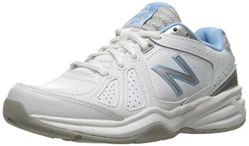 New Balance Women's WX409V3 Casual Comfort Training Shoe, White/Blue, 9.5 D US