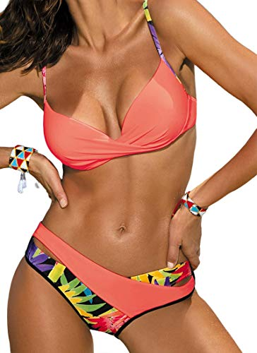 JFAN Conjuntos De Bikini Sexy Mujer Trajes De Baño Bañador Traje de Baño Acolchado con Aros Traje de Baño Floral de Colores Dulces