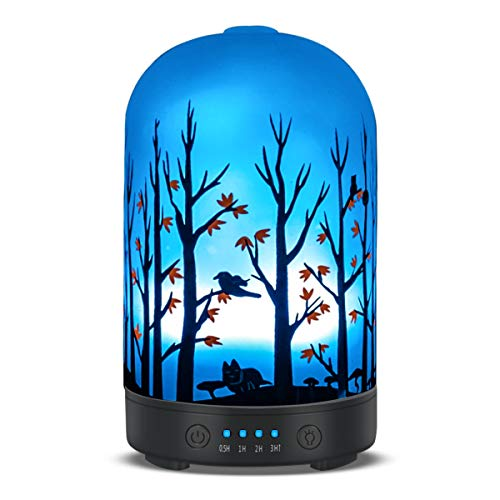 Aromatherapy Essential Oil Diffuser 120ml Glass Fragrance Ultrasonic Cool Mist Humidifier with 7 Color LED Lights and Waterless Auto Shut-off 4 Timed Settings For Home Office Yoga Spa Baby (120ml)
