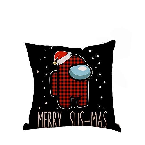 LucaSng 18 x 18 inch Among Us Christmas Pillowcase Sofa Bedroom by Square Pillowcase Game Cartoon Pillowcase