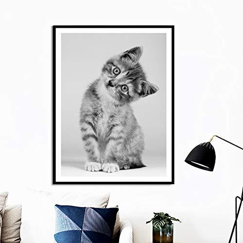 KWzEQ Imprimir en Lienzo Linda Imagen de Arte de Pared de Gato Sala de Estar decoración del hogar50x75cmPintura sin Marco