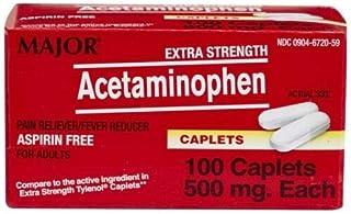 Major Extra Strength Acetaminophen 500mg, Pain Reliever & Fever Reducer, 100 Caplets