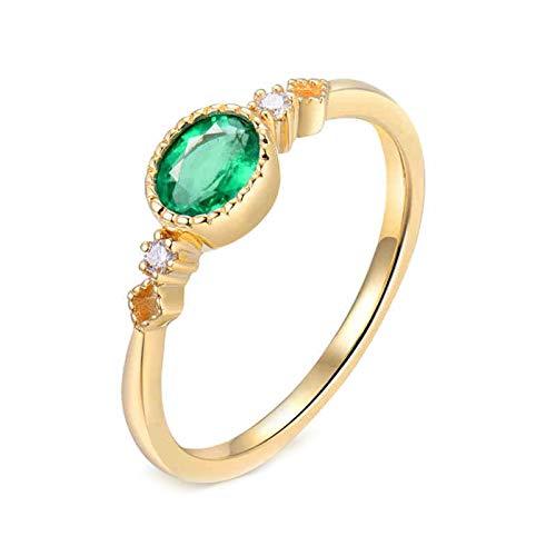 AtHomeShop Mujer oro amarillo 18 quilates (750) talla ovalada verde Emerald