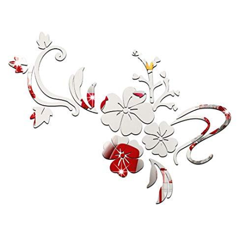 TYV Muurtattoos slaapkamer de ed-ed-ed-acryl Wandpasta, romantische bloem rotan spiegel opname - 60 x 80 cm
