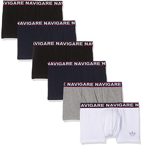 Navigare 322 Boxer, Multicolore (Bianco/Nero/Antracite/Navi), Medium (Taglia produttore:4), Pacco da 6, Uomo