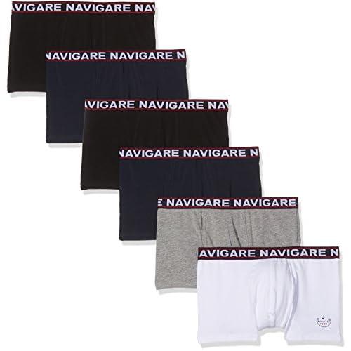 Navigare 322 (Pacco da 6), Boxer Uomo, Multicolore (Bianco/Nero/Antracite/Navi), Small (Taglia produttore:3)