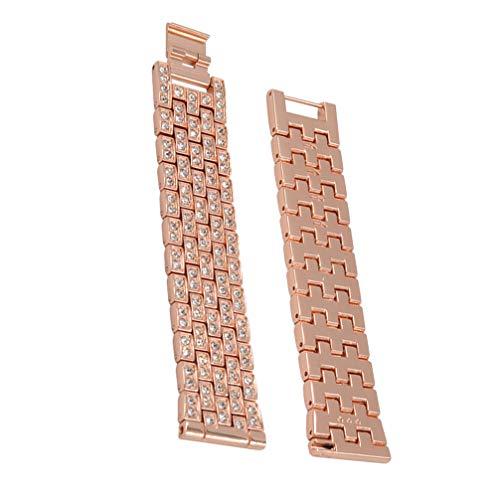 NICERIO - Correa de reloj compatible con Samsung Galaxy, de acero inoxidable, con diamante, para mujer, 42 mm, 46 mm