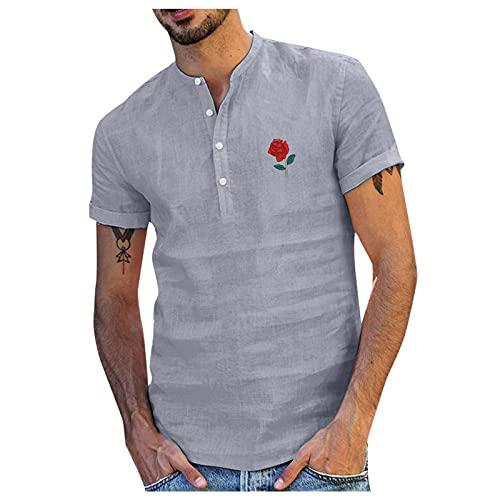 Xmiral Camicia Uomo in Lino Slim Fit Camicetta da Uomo Casual con Stampa di Rose Camicia Colletto in Piedi con Bottoni in Cotone e Lino (L,8grigio)