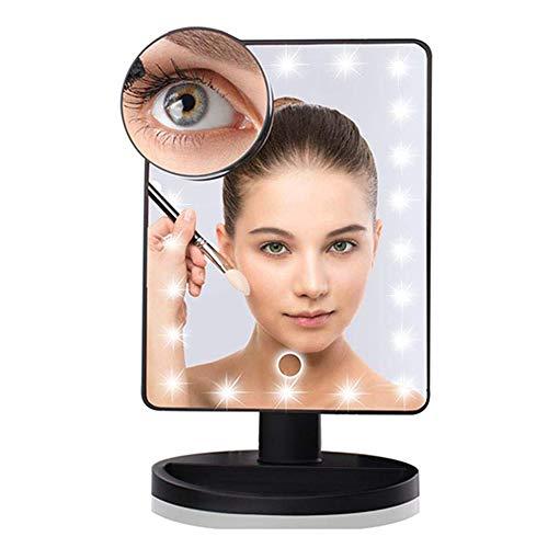 16LED 10X Espejo de aumento, tres modos de atenuación Rotación de 180 ° Escritorio de maquillaje Espejo Regulable Pantalla táctil Fuente de alimentación dual Espejos cosméticos