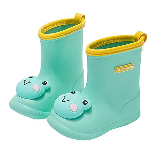 Aohfuehdk Kids Waterproof Anti-Slipping Rubber Rainboots Wear-Resistant Garden Shoe Outdoor Length Rain Boots Comfy Insoles Green