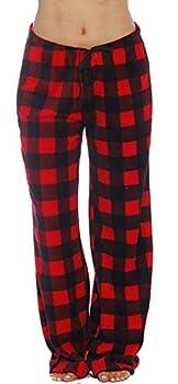 Just Love Women s Plush Pajama Pants Medium Buffalo Plaid Red