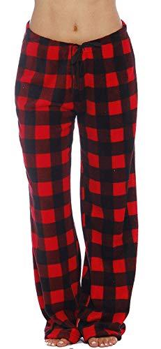 Just Love Women's Plush Pajama Pants, X-Small, Buffalo Plaid Red