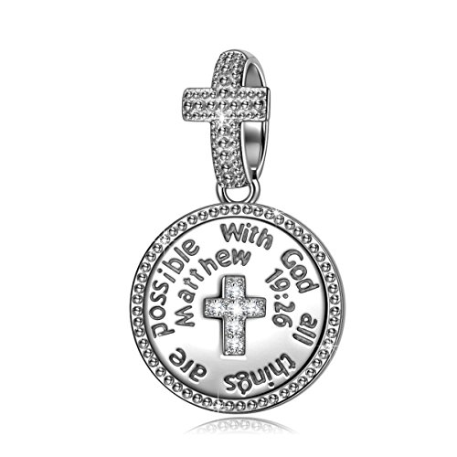 NINAQUEEN 925 Sterling Silver Charm With God All Things Are Possible Cross Religious Dangle Charms...