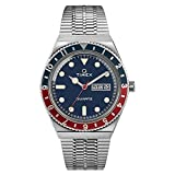 Timex Men's Q Reissue 38mm Stainless Steel Bracelet Watch, Stainless Steel/Blue (TW2T80700), One Size