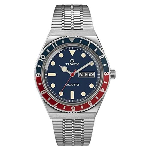 Timex 38 mm Q Timex Reissue Stainless Steel Case Blue Dial Stainless Steel Bracelet Silver/Blue/Silver One Size