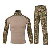 Ketamyy Hommes Tactique Uniforme Ensemble Militaire Camouflage Manches Longues Airsoft T...