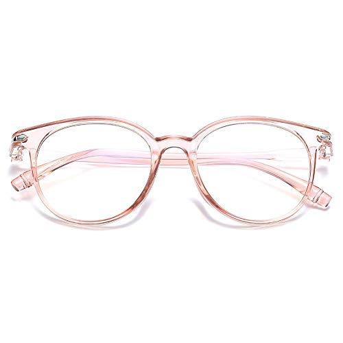 KOOSUFA Blaulichtfilter Brillen Anti Blaulicht Brillen Ohne Sehstärke Damen Herren Computer Gaming Brillen Anti Müdigkeit Leicht Retro Brillengestelle mit Etui (Rosa durchsichtig)