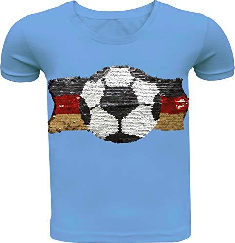 Fußball Kinder Jungen T-Shirt Wendepailletten Hemd Deutschland Germany WM 2018 Rundhals Freizeit (104-110, Blau)