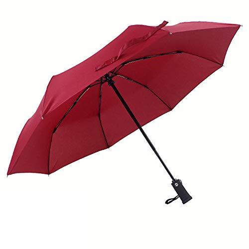 Damaibestcss Paraguas del Negocio, Paraguas Ligero Llevado Plegable automático Triple-Vino Rojo_8 Huesos
