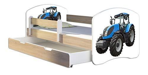 Kinderbett Jugendbett mit einer Schublade und Matratze Sonoma mit Rausfallschutz Lattenrost ACMA II 140x70 160x80 180x80 (42 Traktor, 160x80 + Bettkasten)