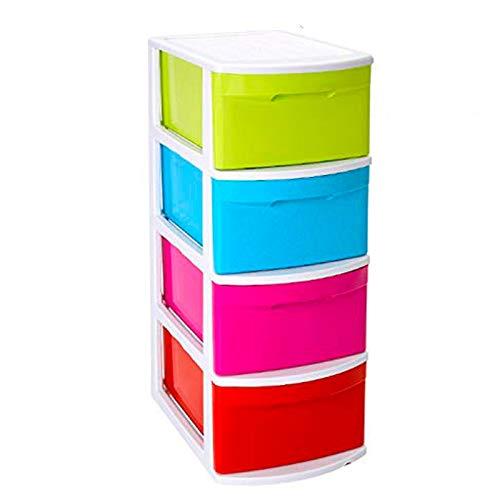 Acan Cajonera támesis 4 cajones Multicolores sin Ruedas, Cajonera de plástico Base Blanco 78 x 39 x 28.5 cm, Cajonera de cajones Alto tamaño Folio