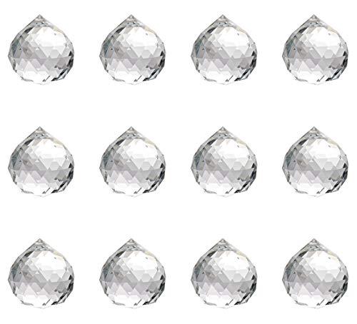 Miystn Prismi di Cristallo, Gocce di Vetro per Lampadari, Palla di Vetro, Art Decor per Fotografia Nozze Deco Pendent (12 Pezzi, 30mm)